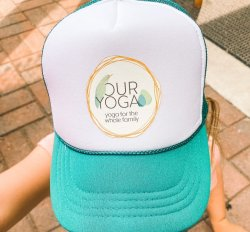 Our Yoga Teal YOUTH Trucker Hat