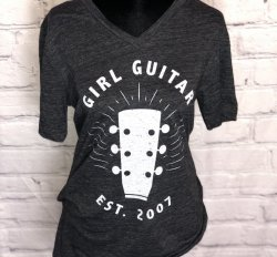Girl Guitar Signature Headstock V-neck Tee (Gray)