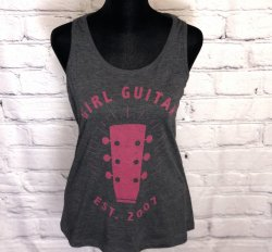 Girl Guitar Signature Headstock Racerback Tank (Black / Pink)