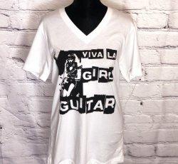 Viva La Girl Guitar V-neck  (White)