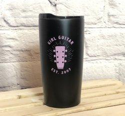 Girl Guitar Travel Mug (Black / Pink)
